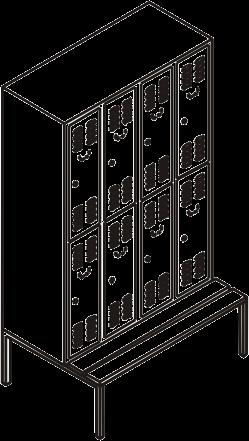 garderobenschrank spind mit 4 abteilen und 8 f chern 300 mm abteilbreite. Black Bedroom Furniture Sets. Home Design Ideas