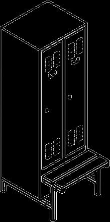 garderobenschrank spind mit 2 abteilen 300 mm abteilbreite. Black Bedroom Furniture Sets. Home Design Ideas