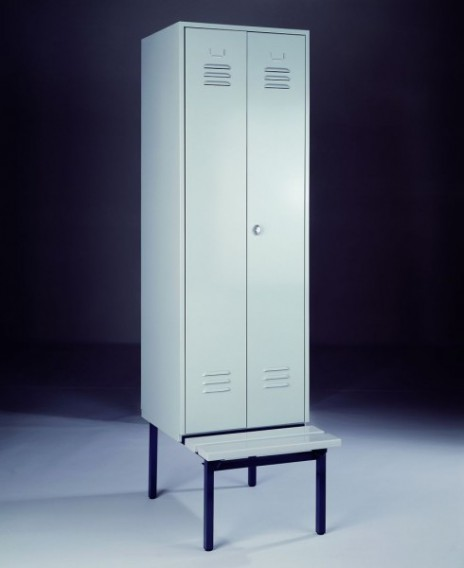 garderobenschrank spind mit 1 abteil 2 t ren und sitzbankuntergestell 600 mm abteilbreite. Black Bedroom Furniture Sets. Home Design Ideas