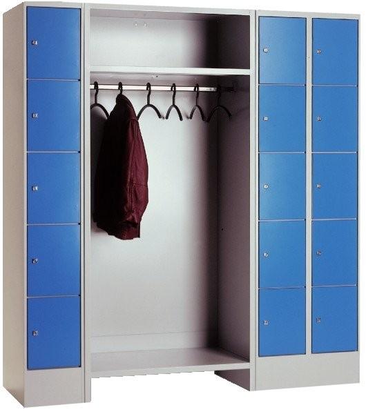 offene garderobe metall mit r ckwand und 15 schlie f cher. Black Bedroom Furniture Sets. Home Design Ideas