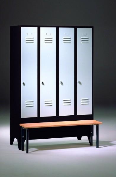 garderobenschrank spind mit sitzbank und 4 abteilen 300 mm abteilbreite. Black Bedroom Furniture Sets. Home Design Ideas