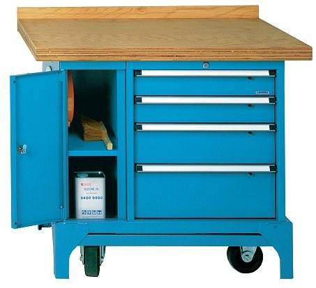 fahrbare werkbank typ fmw 100 u mit 4 schubladen und mit kabelaufroller. Black Bedroom Furniture Sets. Home Design Ideas