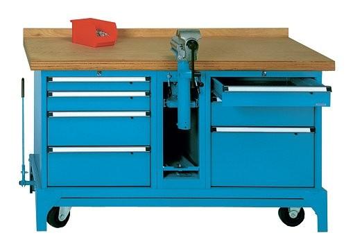 fahrbare werkbank typ fmw 150 7 mit 7 schubladen und schraubstockunterbau. Black Bedroom Furniture Sets. Home Design Ideas